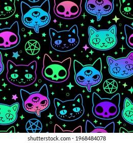 cute cartoon witchcraft cat bright seamless
