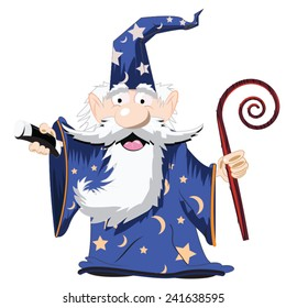 Cute Cartoon Wizard with a cane and a tall hat.