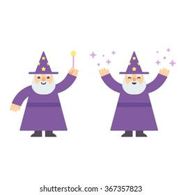 Cute cartoon wizard casting spell with magic wand. Modern flat style vector illustration.