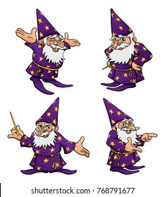 A cute cartoon wizard mascot character in various poses