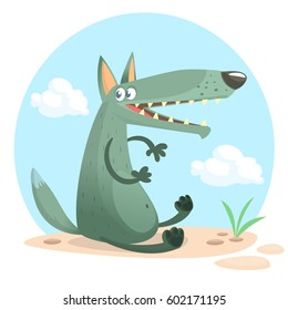 Cute cartoon wolf character. Wild forest animal collection. Baby education. Isolated. White background. Flat design Vector illustration
