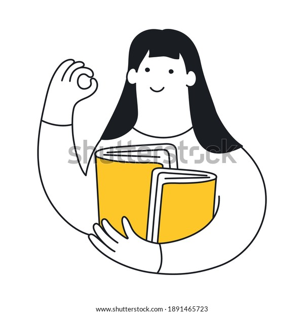 Cute cartoon woman with books showing OK sign gesture. Learning, study, self-education concept. Flat clean line elegant vector illustration on white