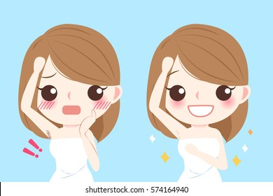 cute cartoon woman with epilator before and after