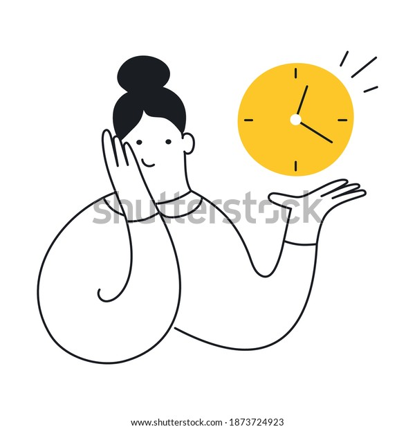 Cute cartoon woman holding a clock in her hand. Time management, plan your time, deadline concept, just in time. Outline color cartoon character isolated on white background.