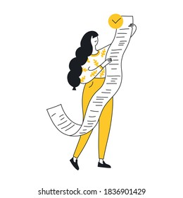 Cute cartoon woman holding a long to-do list or shopping list with a checkmark. Woman planning month, to-do list, and current tasks. Flat line isolated vector illustration