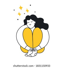 Cute cartoon woman hugs her knees and smiling. Dreaming, fantasize, daydream, think, be lost in reverie concept. Flat cute thin line vector illustration on white.