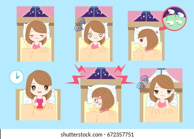 cute cartoon woman with insomnia on the blue background
