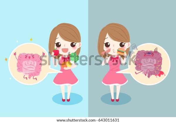 cute cartoon woman with intestine health concept