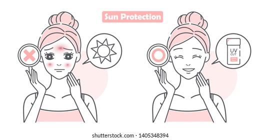cute cartoon woman with sunburn problem on white background