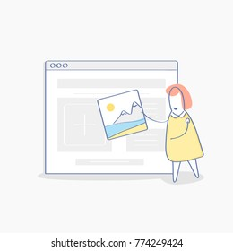 Cute cartoon woman uploading photography, share her photo, post photo on website, make portfolio, post in a social network page. Outline  vector icon of content management, adding content to website