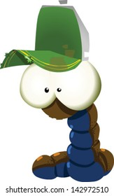 A cute cartoon worm with a trucker hat - Vector clip art illustration on white background