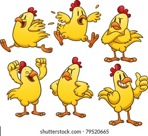 Cute cartoon yellow chicken. Vector illustration with simple gradients. All in separate layers for easy editing.