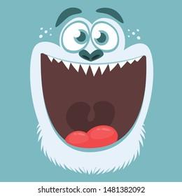 Cute cartoon yeti or bigfoot face. Vector Halloween monster square avatar
