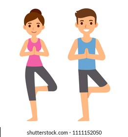 Cute cartoon yoga couple characters illustration. Young man and woman in tree pose asana. Simple and modern flat vector style.