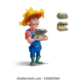 Cute cartoon young guy farmer in straw hat and eggs in tray isolated on white background. Vector illustration.