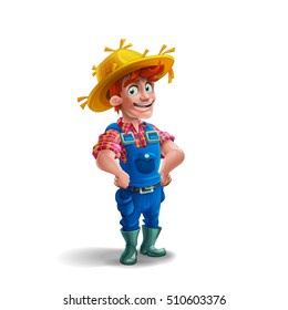 Cute cartoon young guy farmer in straw hat isolated on white background. Vector illustration.