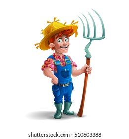 Cute cartoon young guy farmer in straw hat and holding pitchfork isolated on white background. Vector illustration.