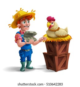 Cute cartoon young guy farmer in straw hat and cute hen isolated on white background. Vector illustration.
