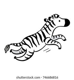 cute cartoon zebra, running or jumping