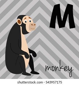 Cute cartoon zoo illustrated alphabet with funny animals: M for Monkey. English alphabet. Learn to read. Isolated Vector illustration.
