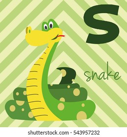 Cute cartoon zoo illustrated alphabet with funny animals: S for Snake. English alphabet. Learn to read. Isolated Vector illustration.