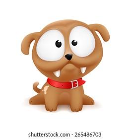 cute cartoonish color vector puppy illustration character