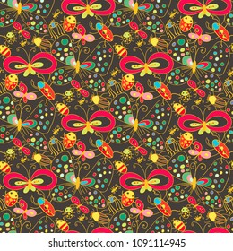 Cute cartoonish insects seamless pattern
