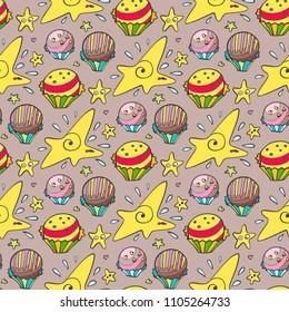 Cute cartoonish sweets - seamless pattern