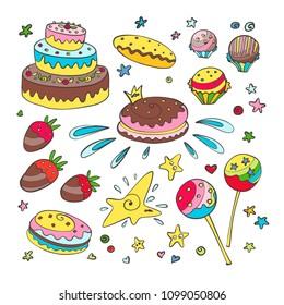Cute cartoonish sweets vector illustration