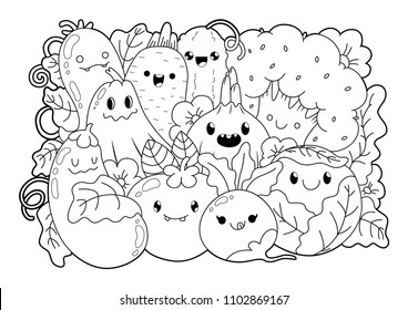 Cute cartoons in kawaii style. Coloring book anti-stress. Vegetable theme