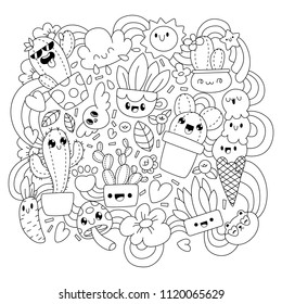 Cute cartoons in kawaii style. Coloring book anti-stress. Funny cacti