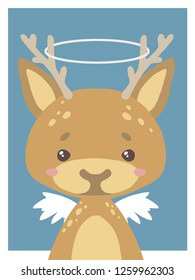 Cute cartoons style nursery vecor animal drawing of a guardian angel deer with halo and wings