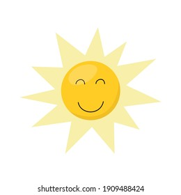 Cute cartoon-style sun isolated on a white background. Perfect for a children's website, book or poster