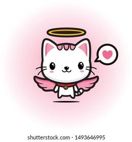 Cute cat angel vector design