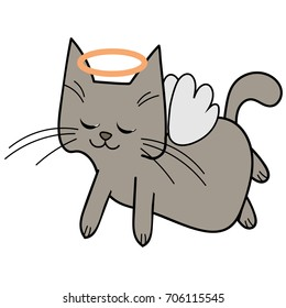 Cute cat angel with wings and nimbus flies