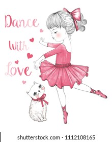 cute cat and ballerina