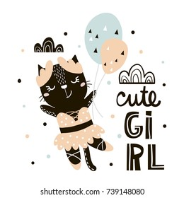 Cute cat ballerina with balloons print. Childish illustration in scandinavian style. Perfect for kids and baby apparel design, wall art, poster