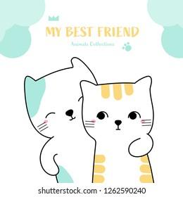 Cute cat bestfriend animal hand drawn style. Vector illustration design.