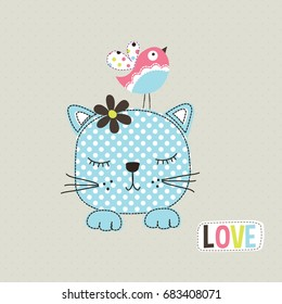 cute cat with bird, love card with cat and bird, T-shirt graphics for kids vector illustration