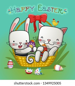 cute cat and bunny in the Easter basket with eggs