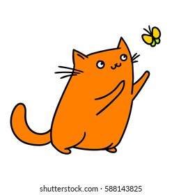 cute cat and butterfly. vector illustration