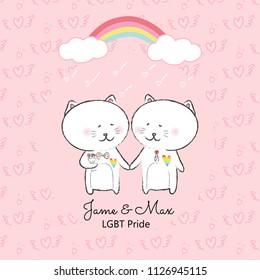 cute cat card cartoon with rainbow,LGBT pride day