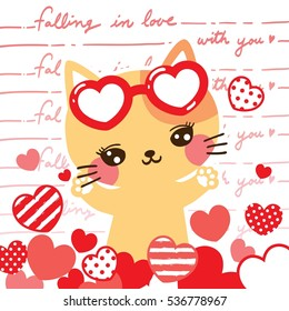 Cute cat cartoon with a lot of hearts on falling in love with you hand writing background