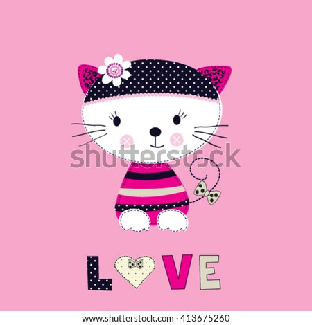 197bf0ac8f7 Cute Cat Cartoon Love Card Childish Vector de stock (libre de ...