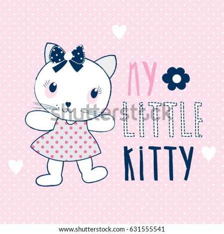 30973d0fb6d Cute Cat Cartoon My Little Kitty Vector de stock (libre de regalías ...