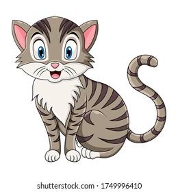 Cute cat cartoon sitting on white background