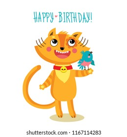 Cute Cat Character Greetings Card Funny Birthday Greeting Holiday Poster