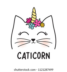 Cute cat character. Hand drown kitty illustration. Cat graphic design for kids. Meow slogan