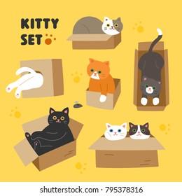 Cute cat character set that likes box vector illustration flat design