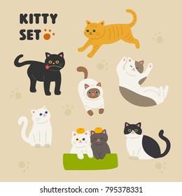 Cute cat character set of various patterns vector illustration flat design